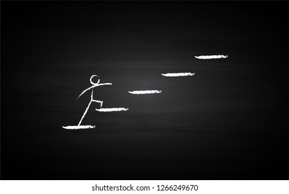 Black Board Illustration with a concept of a person climbing on stairs in chalk art  - Vector