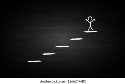 Black Board Illustration with a concept of a person on top of stairs in chalk art - Vector