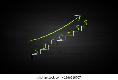 Black Board Illustration with a concept of success stair with green arrow - Vector
