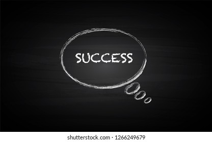 Black Board Illustration with a concept of think bubble with the word of success in chalk art - Vector