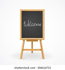 Black Board on Easel Front View with text in the center. Vector illustration