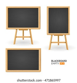Black Board Set. Different View. Ready for Your Business. Vector illustration