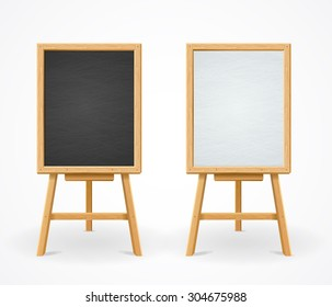 Black Board and White Set On Easel Front View Vector illustration