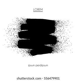 black bold brush flourish with tiny droplets around, isolated on white