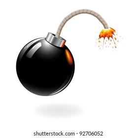 Black bomb burning isolated on the white background.