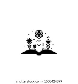 Black book with flowers, brain and sprouts isolated on white background. Vector flat illustration. Magic fairytale reading logo. Imagination, inspiration and fantasy. knowledge day. Back to school