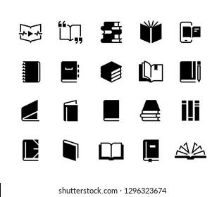 Black books icons. Study education book set, textbook magazine diary bible business collection. Vector book logo
