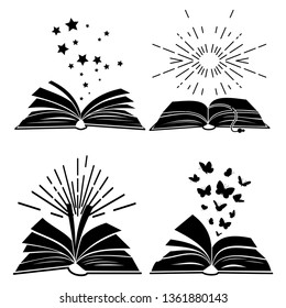 Black books silhouettes with flying butterflies, stars and sunburst, vector illustration