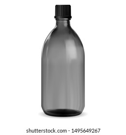 Black Bottle. Glass Medical Jar. Syrup Vial Mockup. Pharmacy Packaging for Vitamin or Essential Aromatic Oil. Round Design 3d Pharmaceutical Medicament Storage with Screw Plastic Lid isolated on White