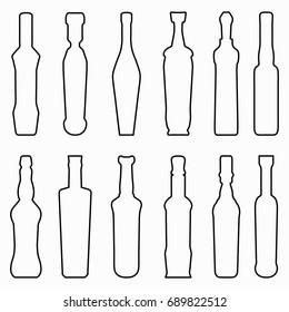 Black bottles glassware collection of symbols