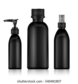 Black Bottles Spray. Realistic Black Bottle For Essential Oil And Tube Or Container For Cream, Ointment, Oil Lotion. Mock Up set. Cosmetic Vial, Flask, Dropper-Bottle, Shampoo. Vector Illustration.