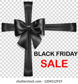 Black bow with crosswise ribbons with shadow and inscription Black Friday Sale on transparent background