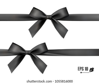 Black bow with ribbon. Vector.