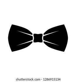 Black bow tie icon. Isolated sign bow tie on white background in flat design. Vector illustration