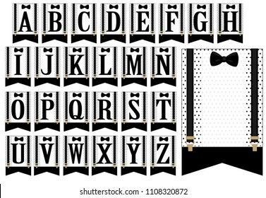 Black bow tie and suspenders. Set of white flags with polka dots. Little man banner. Vector alphabet letters for decoration party ( baby shower boy, birth, father's day, stag-party, vintage wedding)