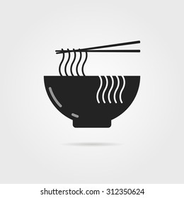 black bowl icon with chinese noodles and shadow. concept of prepare, culinary, eastern diet, cookery, cook, soba. isolated on gray background. flat style modern logotype design vector illustration