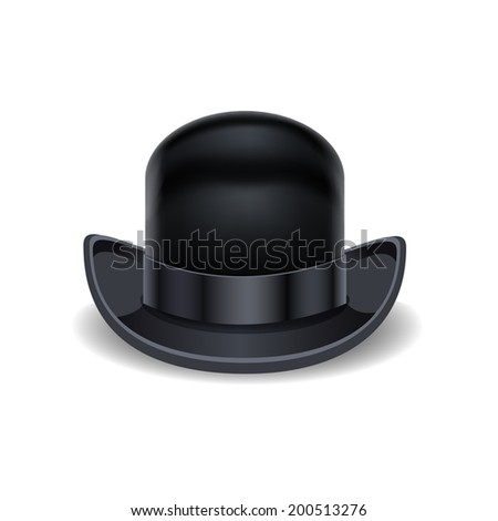 cfb36e14456 Black Bowler Hat Isolated On White Stock Vector (Royalty Free ...