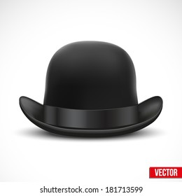 Black bowler hat with silk ribbon. Vector Illustration. Isolated on a white background