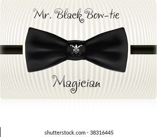 Black bow-tie business card template. Vector, contains gradient mesh.