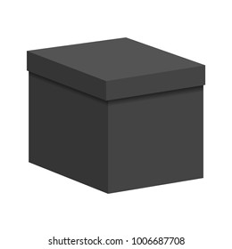 Black box with a closed lid on a white background. Vector illustration.