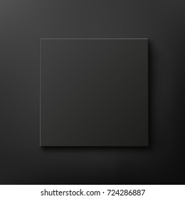 Black box isolated on black background. Top view.  Template for your presentation design, banner, brochure or poster. Vector illustration.