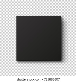Black box isolated on transparent background. Top view.  Template for your presentation design, banner, brochure or poster. Vector illustration.