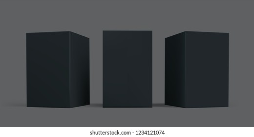 Black box package mock-up set. Vector black carton cardboard or paper package boxes, isolated 3D models templates