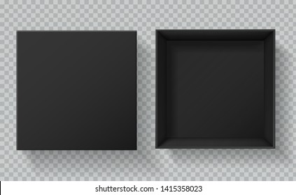 Black box packaging. Top view open and closed gift presentation boxes. Empty cardboard black carton package 3d vector mockup
