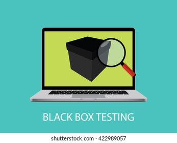 black box testing concept with laptop notebook and magnifying glass vector graphic illustration
