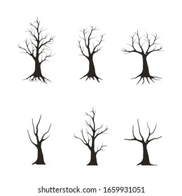 Black Branch Tree or Naked trees silhouettes set. Hand drawn illustrations.