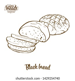 Black bread bread vector drawing. Food sketch of Rye bread, usually known in Europe. Bakery illustration series.
