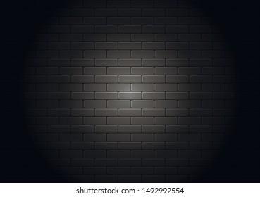 Black brick wall illuminated by spotlight. Realistic decorative background.