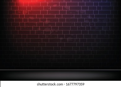 Black brick wall with red and blue neon light vector eps.10