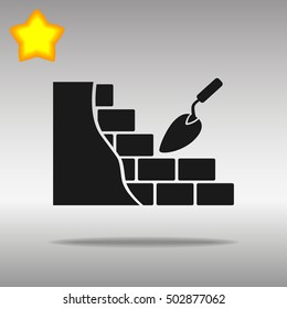 black brickwork and building trowel Icon button logo symbol concept high quality on the gray background