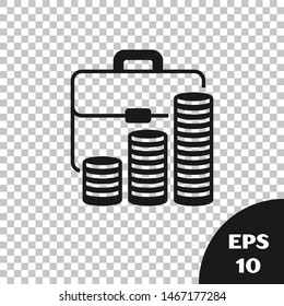Black Briefcase and coin icon isolated on transparent background. Business case sign. Business portfolio.   Vector Illustration