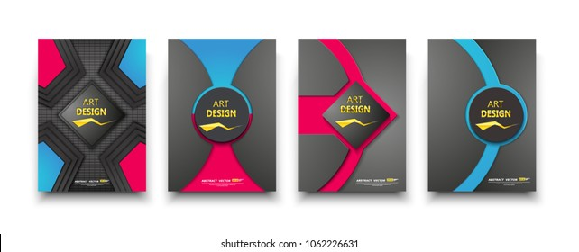Black brochure mockup. A4 cover design. Fancy info banner. Title sheet model set. Modern vector front page art. Rhombus, circle. Red, blue lines frame, logo icon. Ad flyer text font. Creative report.