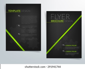 Black brochure template vector background flyer design with green line elements gradient light for text and message brochure artwork design in A4 size