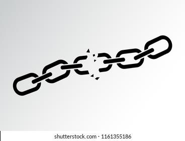 Black broken chain. Vector illustration