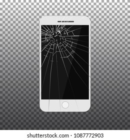 Black broken mobile phone isolated on transparent backround. Repair mobile phone icon. Vector Illustration