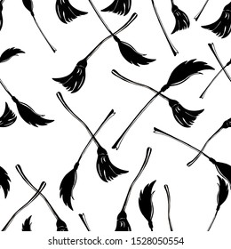 Black Broom, vector pattern. Broom illustration for textile, covers, wrapping paper