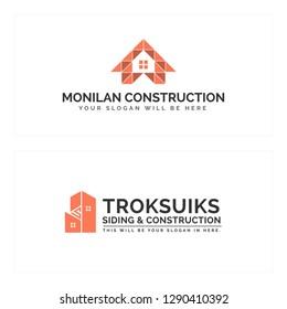 Black brown line art roof building combination mark logo design suitable for real estate construction business industrial