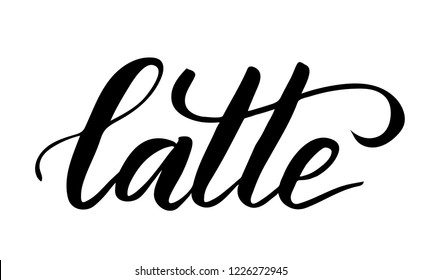 Black brush calligraphy Latte isolated on white background. Vector illustration