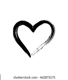 Black brush drawing heart isolated on white