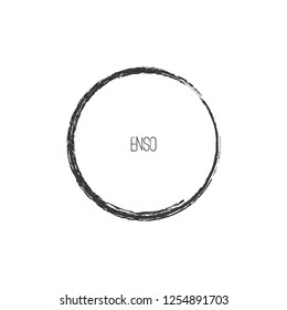 Black Brush Stroke Enso Symbol Vector Design. Painting Enso Zen Circle Brush Vector Illustration