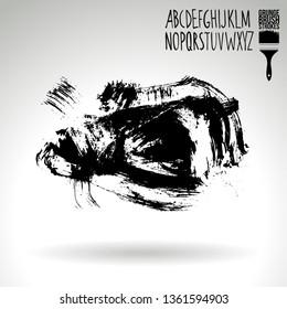 Black brush stroke and handwritten alphabet. Grunge vector abstract hand - painted element. Underline and border design.