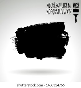 Black brush stroke and handwritten alphabet. Grunge vector abstract hand - painted element. Underline and border design.