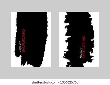 Black brush stroke on white background. Vector illustration. Grunge stain