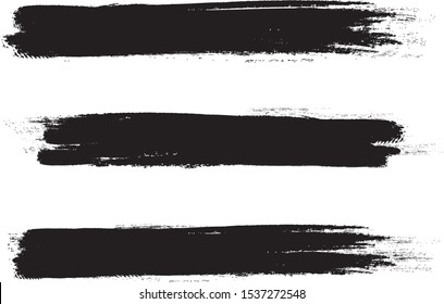Black brush stroke set isolated on white background. Trendy brush stroke for black ink paint,grunge backdrop, dirt banner,watercolor design and dirty texture.Creative art concept, vector illustration