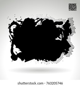 Black brush stroke and texture. Grunge vector abstract hand - painted element. Underline and border design.