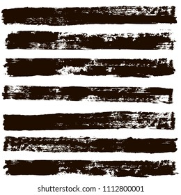 black brush strokes set backgrounds. Artistic  lines grunge collection. Set of black grungy hand painted brush strokes isolated on white. Abstract ink texture, design elements.